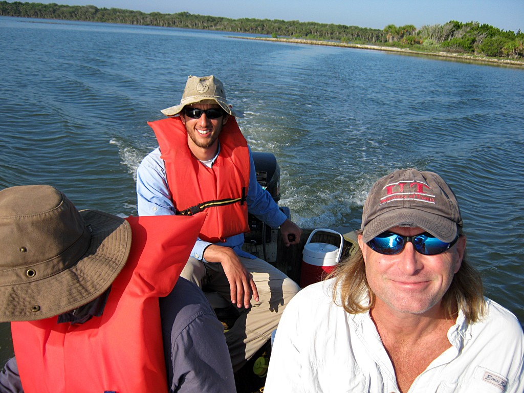 Collecting data in Mosquito Lagoon. Yoel Stuart manning the helm, with Todd Campbell and Casey Gilman.