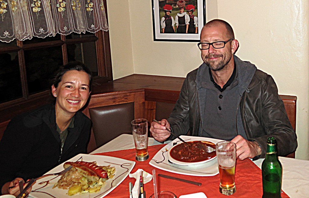Fine dining, Colonia Tovar-style: goulash and wienerschnitzel.