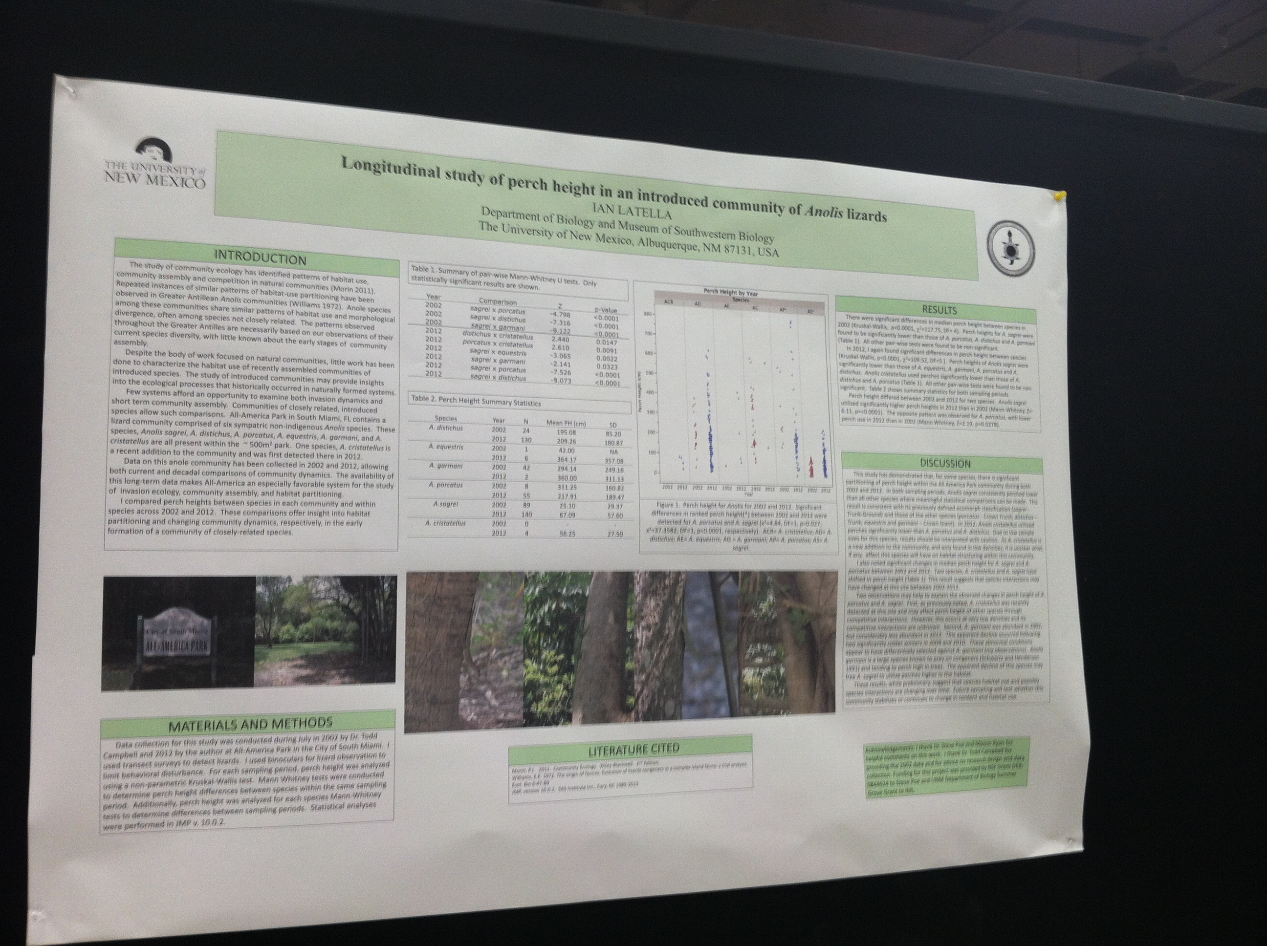 Ian Latella's poster on changes in anole habitat use in All-American Park in Miami, FL.