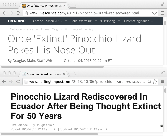 Pinocchio news titles
