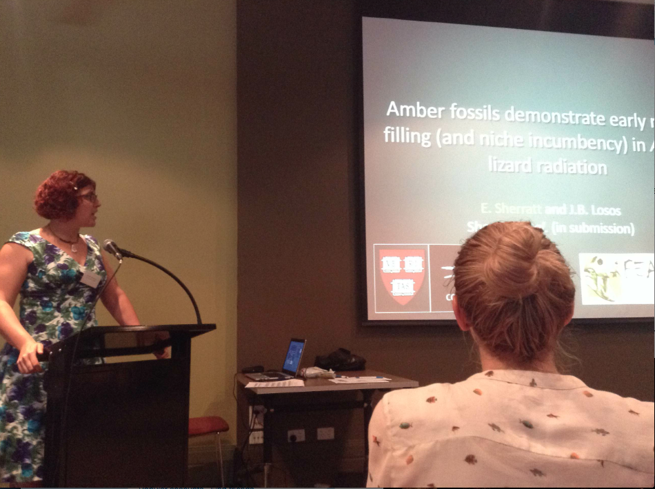 Emma Sherratt gives her talk on fossil anoles