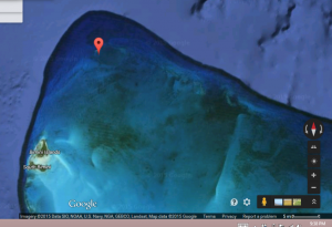 Great Isaac Cay, NE of the Bimini group, Bahamas. Image from Google Earth 2015.