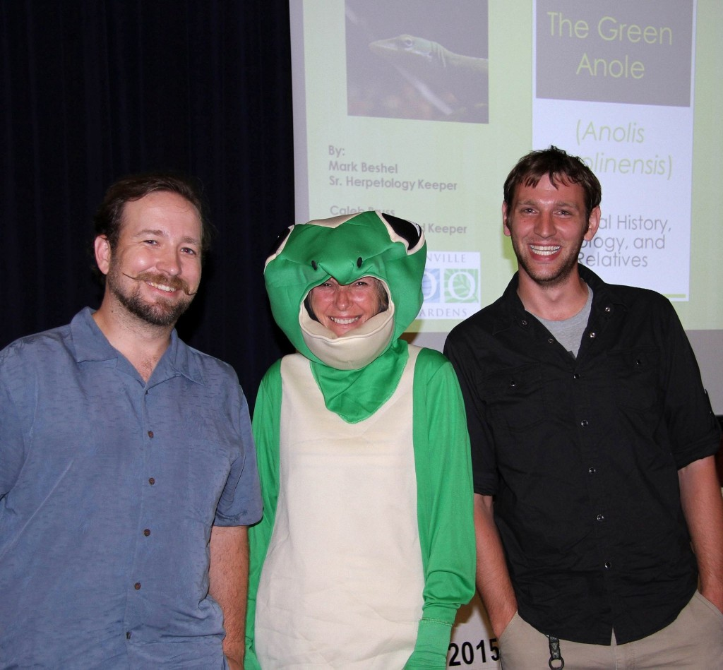 Ms. Ann-Ole thanks local herpetologists. From the Wild Amelia Facebook Page: Many thanks to herpetologists Mark Beshel (far left) and Caleb Bress (far right) of the Jacksonville Zoo and Gardens for their entertaining and informative presentation on the green anole at the last of the Wild Nites this Festival year. Who knew the green anole could be sooo much fun? Thanks also to our own Ms-Ann-ole! Photo--Scott Moore