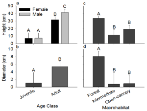 Effects of age class on (a) perch height and (b) perch diameter, and the effects of macrohabitat on (c) perch height and (d) perch diameter.