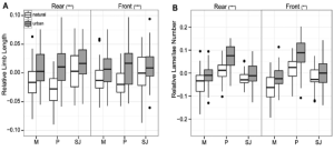 Fig. 4 from Winchell et al. (2016). This -really cool- figure shows how urban and natural populations differed in key morphological variables: (a) subdigital lamellae number and (b) limb length