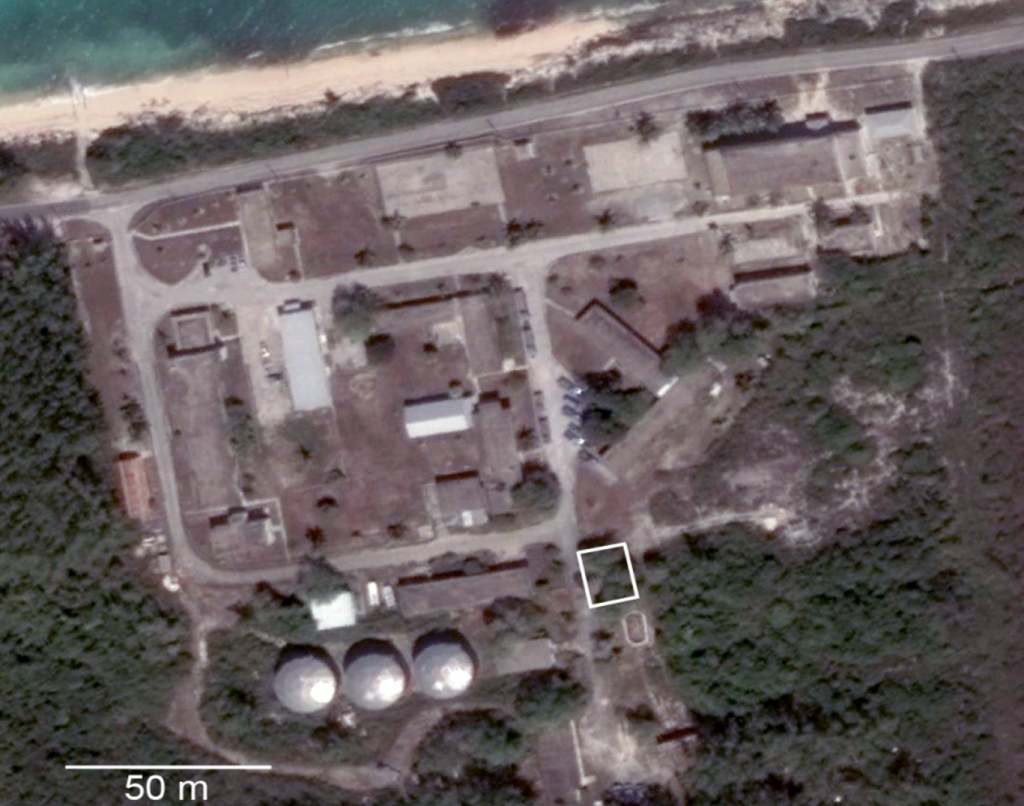 "A Google Map view of the Gerace Research Centre. The study site (24°07'05.2""N 74°27'50.9""W) is outlined in white."
