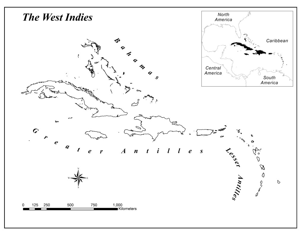 Figure 2. Map of the West Indies, showing the distribution of 1668 studied islands