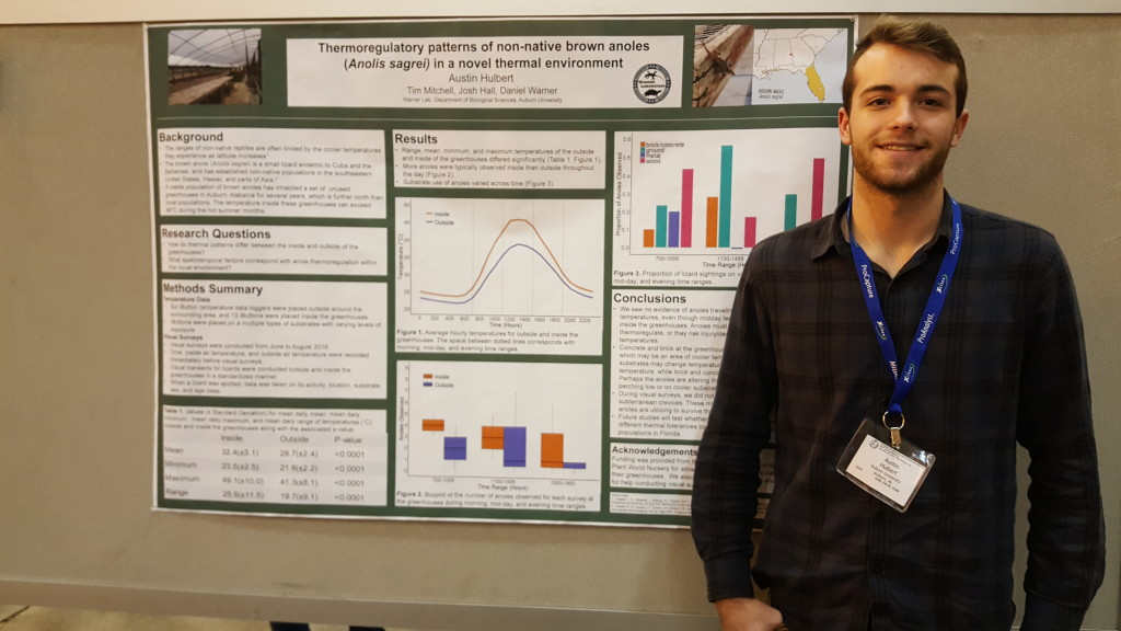 Austin Hulbert with his poster at SICB 2017.