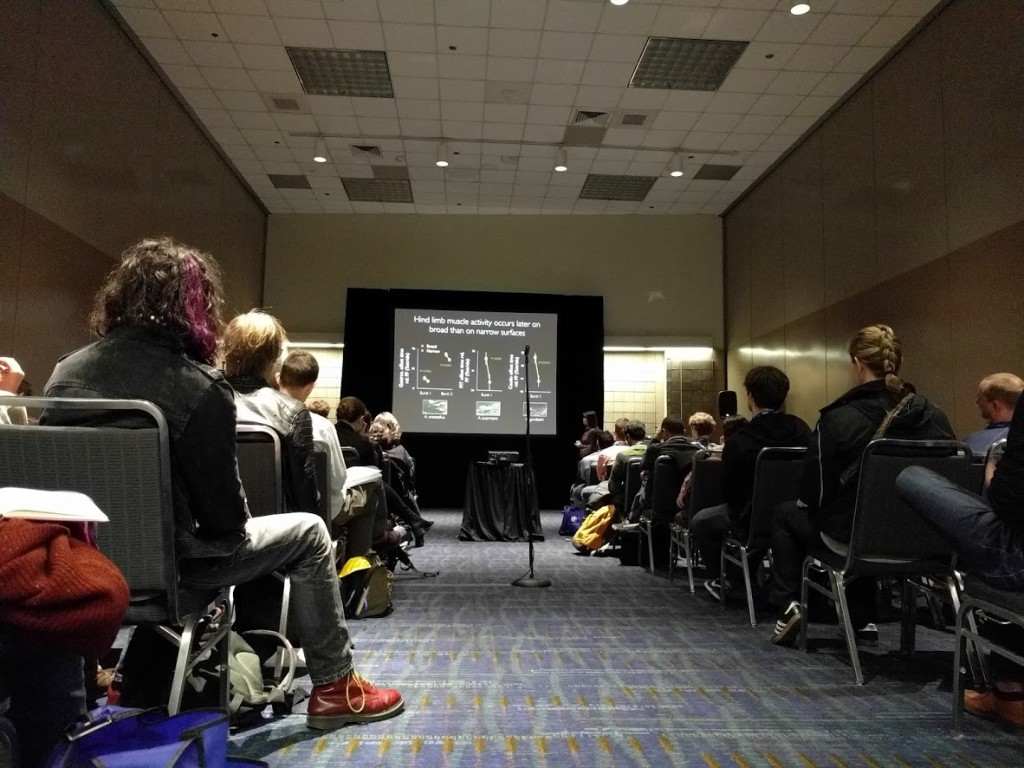 Kathleen Foster presents her work to a packed room at SICB.