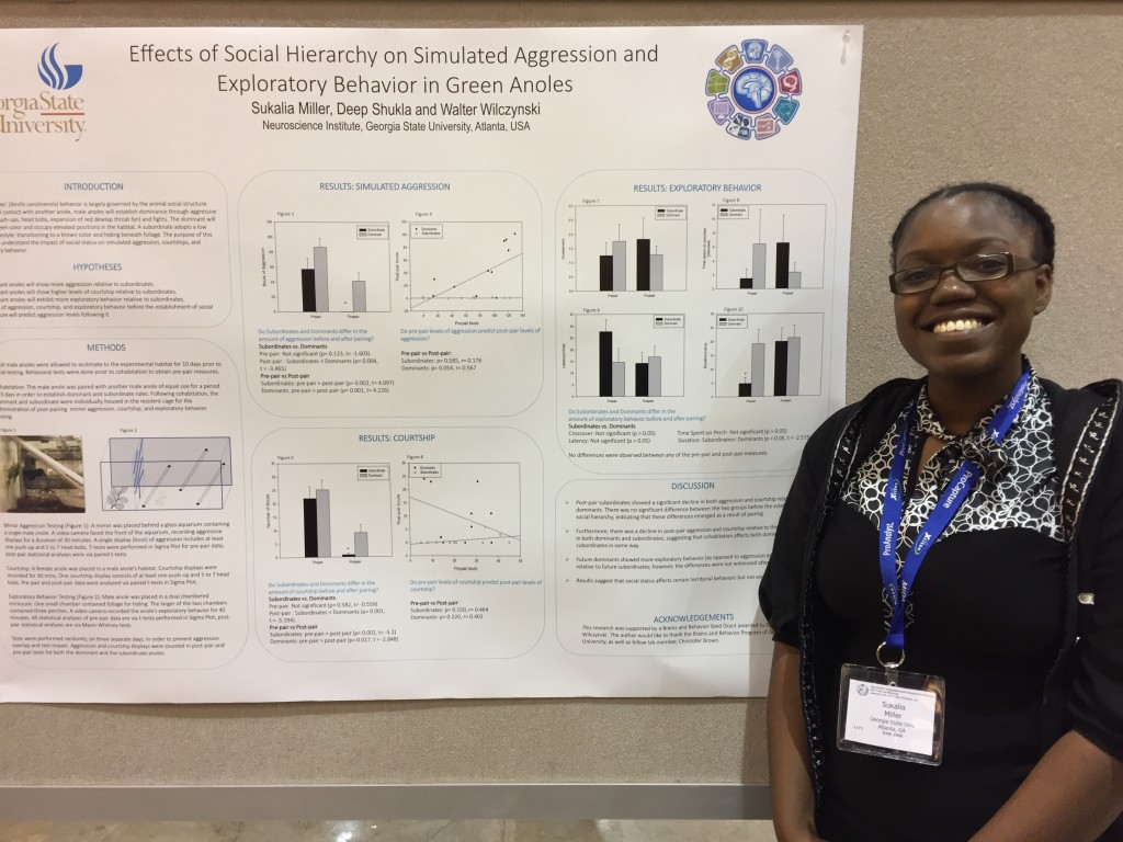 Sukalia Miller with her poster at SICB.